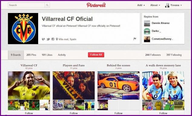 Villarreal CF Pinterest, Yovana Comins